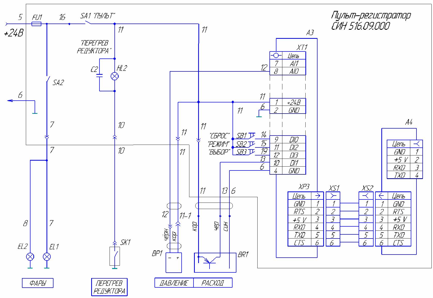 Схема подключения пульта-регистратора СИН516.09.000
