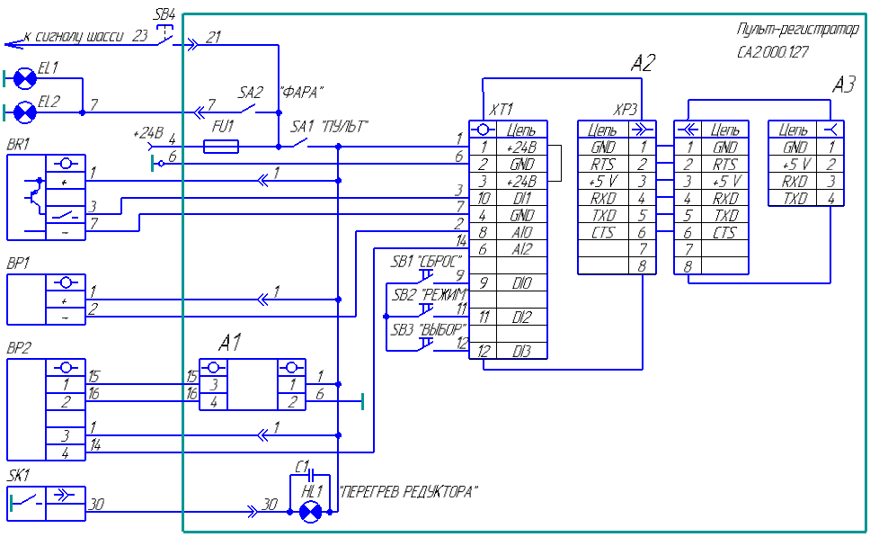 Схема пульта-регистратора с плотномером